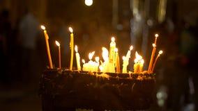 蜡烛在圣洁坟墓教会里在耶路撒冷 库存照片