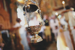 蜡烛在教会里 图库摄影