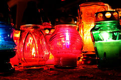 蜡烛在晚上 免版税图库摄影
