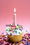 蜡烛杯形蛋糕粉红色 库存照片