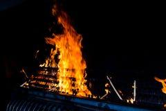 蜡烛的火葬用的柴堆在法蒂玛,葡萄牙 图库摄影