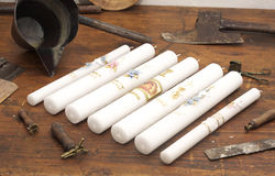 蜡烛老生产 库存图片