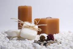 蜡烛肥皂温泉禅宗 免版税库存图片