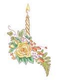 蜡烛蕨玫瑰黄色 库存照片