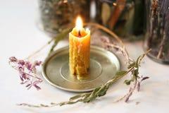 蜡烛蜡,用手做,用不可思议的草本 库存照片