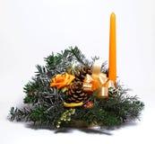 蜡烛装饰表 免版税库存照片