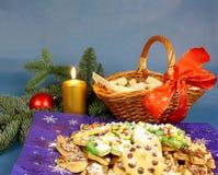 蜡烛&圣诞节的可口,被烘烤的曲奇饼 库存照片