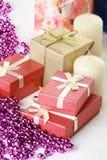 蜡烛cristmas礼品glassbeads 免版税库存图片