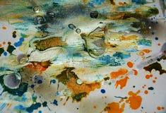 蜡状银色蓝色橙色黑暗的水彩飞溅,摘要创造性的背景 免版税库存照片