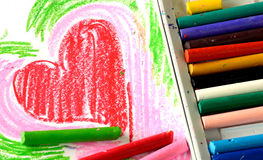 蜡笔上油柔和的淡色彩 免版税库存照片
