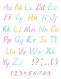 蜡笔儿童` s图画字母表 淡色白垩字体 ABC图画信件 皇族释放例证