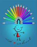 蜡笔和孩子画。 免版税库存图片