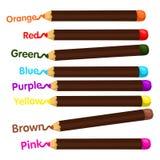 蜡笔和颜色的以图例解释者 库存例证