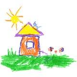 蜡笔喜欢儿童` s手图画房子、猫、太阳和草 库存照片