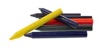 蜡笔在白色黏附大 免版税库存图片