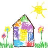 蜡笔或铅笔喜欢儿童` s手拉的房子、草、五颜六色的花和太阳 淡色白垩喜欢孩子绘逗人喜爱的春天的` s手 向量例证