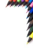 蜡笔框架半multicolores 免版税库存照片