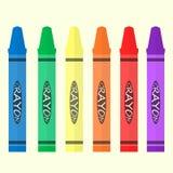 蜡笔6彩色组 图库摄影
