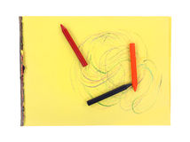 蜡笔黏附大漩涡黄色片剂 免版税库存图片