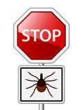 蜱蓖麻壁虱路停车牌 图库摄影