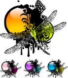 蜻蜓装饰图案 免版税库存图片