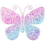蝴蝶乱画概略的笔记本 免版税库存照片