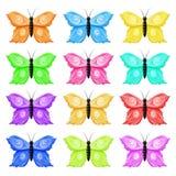 蝴蝶五颜六色的例证JPG模式无缝的向量 库存照片
