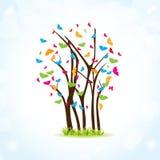 蝴蝶五颜六色的春天结构树 皇族释放例证