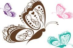 蝴蝶五颜六色的滚动 库存例证