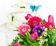 蝴蝶五颜六色的花春天 库存图片