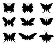 蝴蝶剪影 库存例证