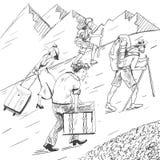 蝴蝶动画片可笑儿童的职员按照s主街上样式 疲乏的旅客攀登山 游人跟随指南 免版税库存图片
