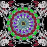 蝴蝶和花五颜六色的传染媒介无缝的样式 圆的种族样式坛场 明亮的装饰重复背景 库存例证