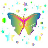 蝴蝶和ellips和星塑造传染媒介 图库摄影