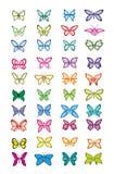 蝴蝶多彩多姿的集 免版税库存照片
