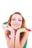 蝴蝶头发的红色妇女 图库摄影