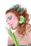蝴蝶头发的题头她的红色妇女 图库摄影