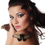 蝴蝶妇女 免版税库存图片