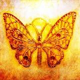 蝴蝶接近的金属主题 库存照片