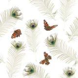蝴蝶无缝模式的孔雀 免版税库存照片