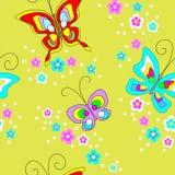 蝴蝶无缝的样式 纺织品的逗人喜爱的设计,儿童的衣物,明信片 r 库存例证