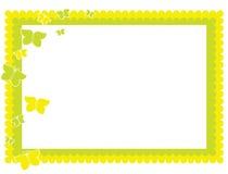 蝴蝶框架绿色黄色 库存图片