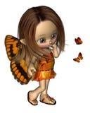 蝴蝶神仙的橙色印度桃花心木 免版税图库摄影