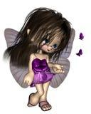 蝴蝶神仙的紫色印度桃花心木 免版税图库摄影