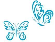 蝴蝶纹身花刺 向量例证