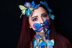 蝴蝶艺术组成 免版税库存照片
