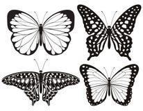 蝴蝶被设置的剪影象 下载例证图象准备好的向量 库存例证