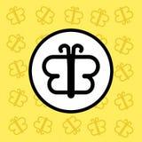 蝴蝶象标志和标志在黄色背景 免版税库存图片