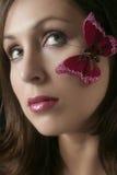 蝴蝶面颊面对她的s妇女 免版税库存图片