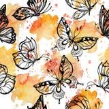 蝴蝶飞行甜口气在水彩的飞溅无缝的样式疏散重复 皇族释放例证
